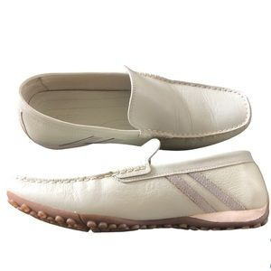 Geox Respira Creamy White Leather Loafer Shoes, 10